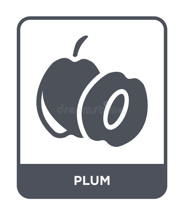 icône de prune dans le style à la mode de conception Icône de prune d'isolement sur le fond blanc symbole plat simple et moderne  illustration de vecteur
