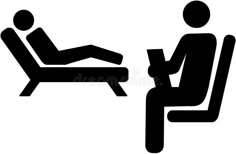 Icône de psychologue avec le patient sur un divan illustration de vecteur