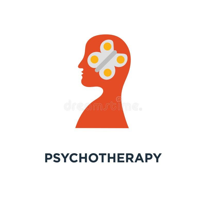 icône de psychothérapie bien-être mental, pratique en matière de méditation, sentiments de contrôle, conception créative de symbo illustration stock