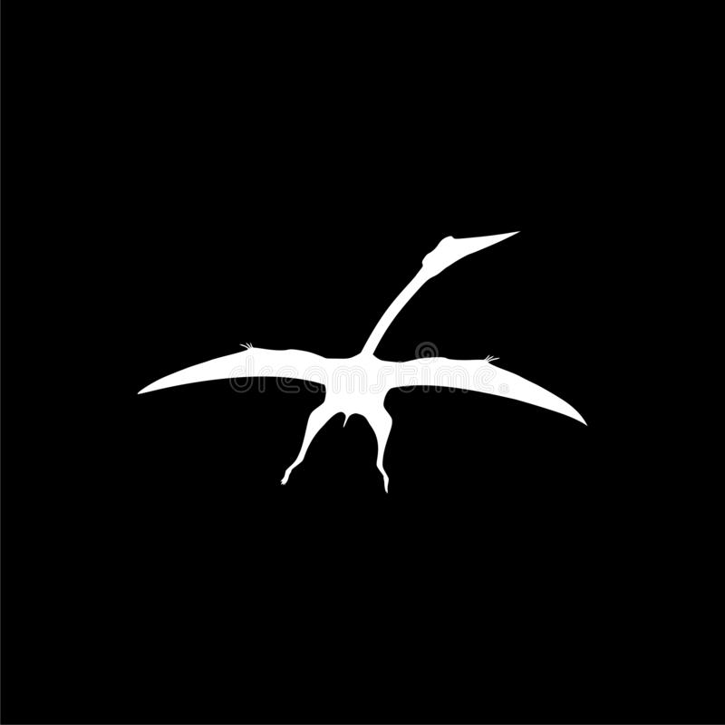 Icône de ptérodactyle ou logo, oiseau de Pteranodon sur le fond foncé illustration stock