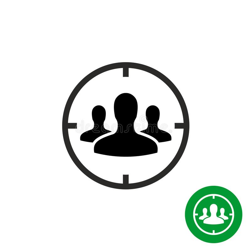 Icône de public cible Têtes de personnes avec le symbole de cible de but illustration stock