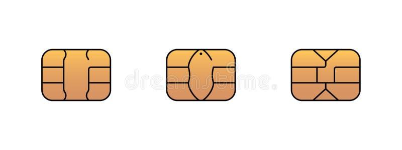 Icône de puce d'or d'EMV pour la carte de clientèle de crédit ou de débit de plastique de banque Illustration de symbole de vecte illustration stock
