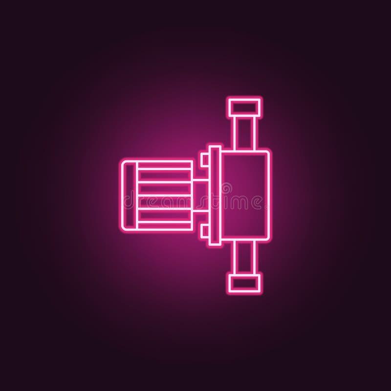 icône de pumb Éléments de la fabrication dans les icônes au néon de style E illustration stock