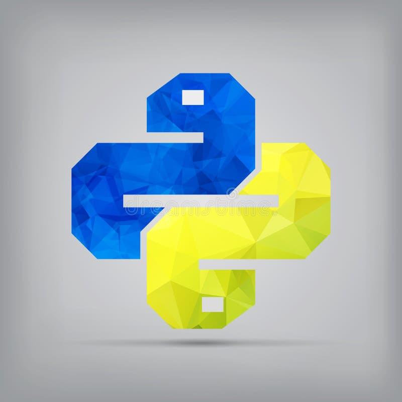 Icône de python sur le fond Symbole à la mode f de vecteur de serpent illustration de vecteur