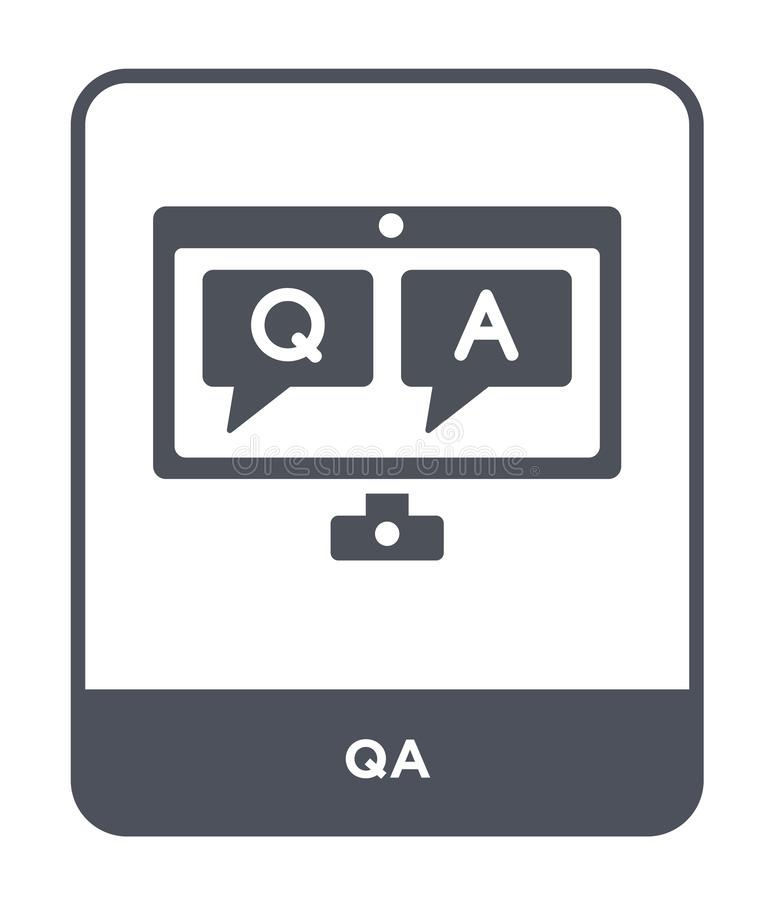 icône de QA dans le style à la mode de conception icône de QA d'isolement sur le fond blanc symbole plat simple et moderne d'icôn illustration stock