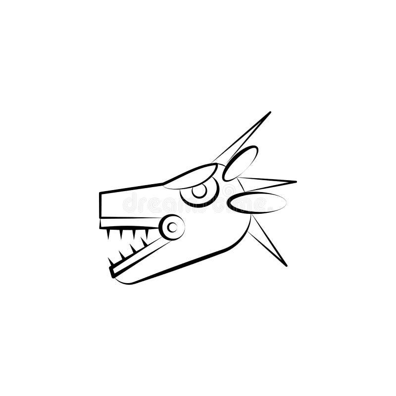 Icône de Quetzalcoatl Élément d'icône de dia de muertos pour des applis mobiles de concept et de Web L'icône tirée par la main de illustration stock