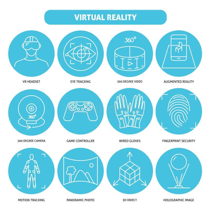 Icône de réalité virtuelle réglée dans la ligne style mince illustration libre de droits