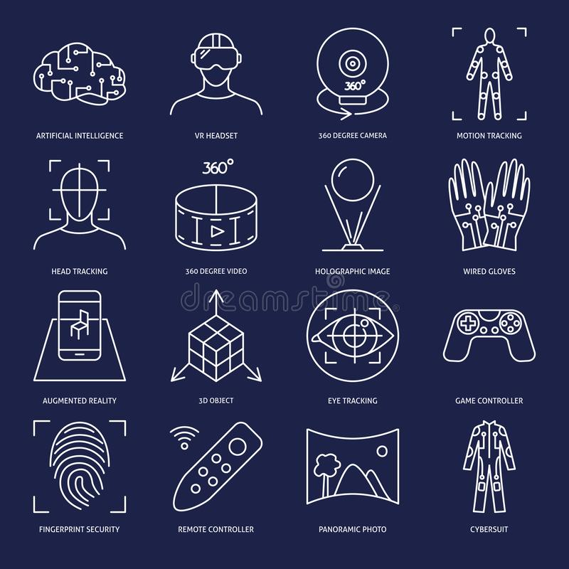 Icône de réalité virtuelle réglée dans le style linéaire illustration libre de droits