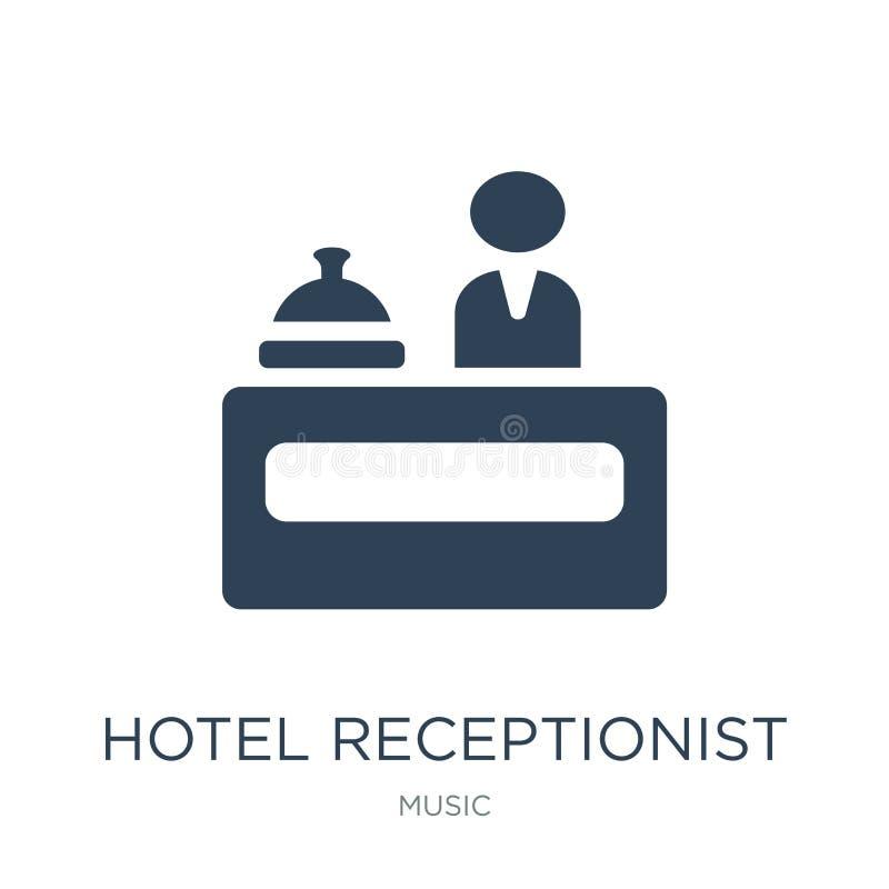 icône de réceptionniste d'hôtel dans le style à la mode de conception icône de réceptionniste d'hôtel d'isolement sur le fond bla illustration stock