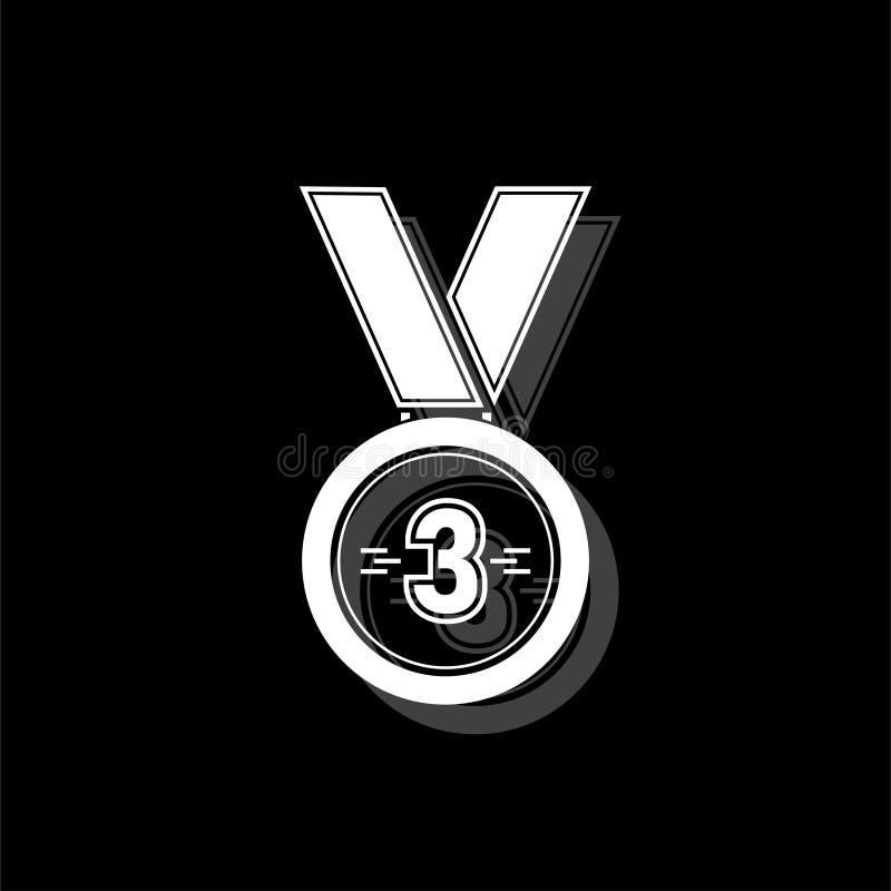 Icône de récompense de médaille de bronze de 3 gagnants à plat illustration de vecteur