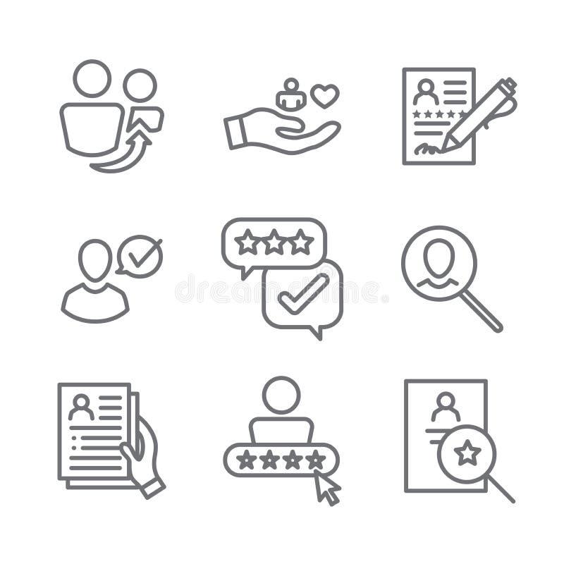 Icône de référence d'emploi de référence réglée avec des recommandations, l'évaluation des performances, etc. illustration de vecteur
