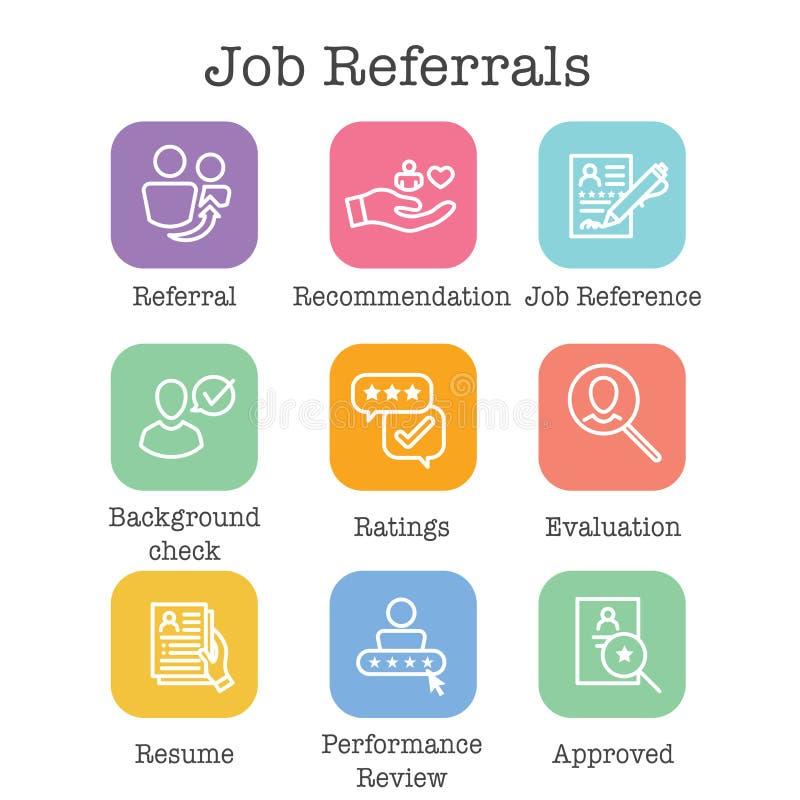 Icône de référence d'emploi de référence réglée avec des recommandations, l'évaluation des performances, etc. illustration libre de droits
