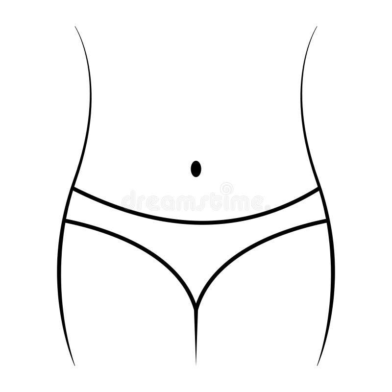 Icône de régime linéaire, ventre gracieux de corps féminin, taille et hanches, régime de concept, forme physique, sport Femelle d illustration libre de droits