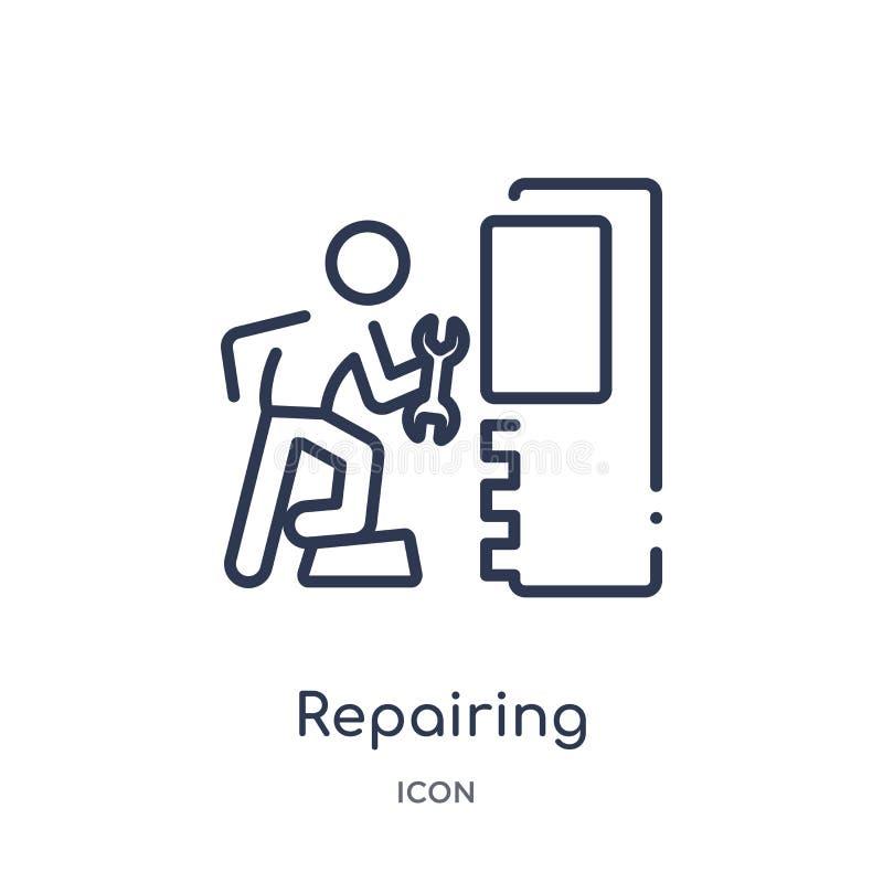 Icône de réparation linéaire d'activité et de collection d'ensemble de passe-temps Ligne mince réparant le vecteur d'isolement su illustration libre de droits