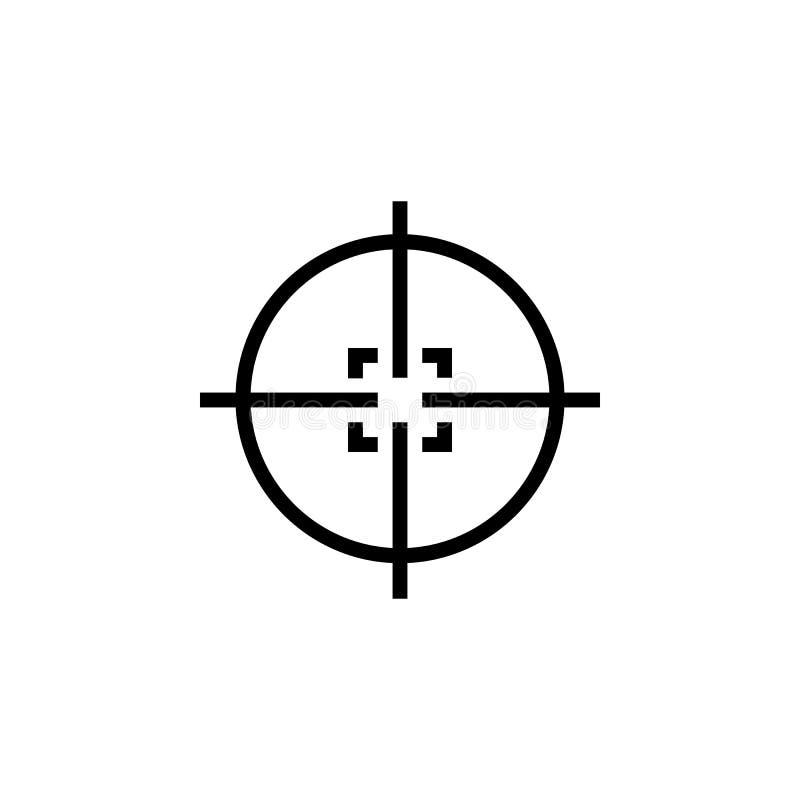 Icône de réticules de tireur isolé Croix de but de cible Vue arrière de portée de fusil illustration stock