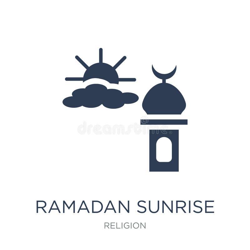 Icône de Ramadan Sunrise Icône plate à la mode de Ramadan Sunrise de vecteur dessus illustration stock