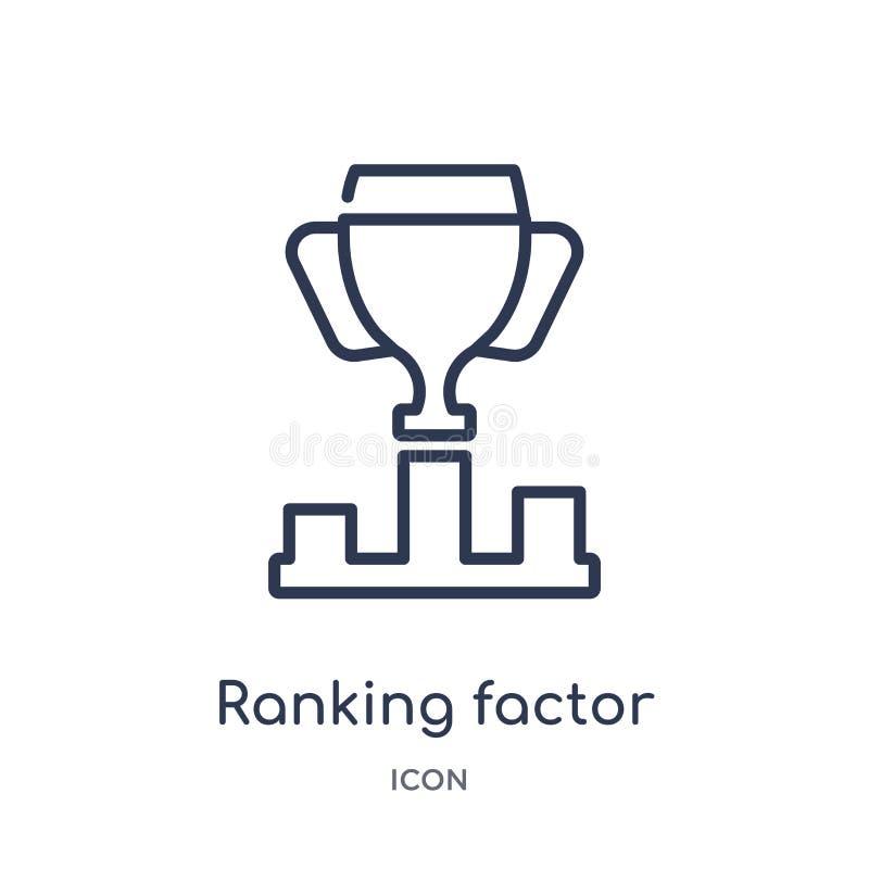 Icône de rang linéaire de facteur de collection d'ensemble d'affaires Ligne mince icône de facteur de rang d'isolement sur le fon illustration stock