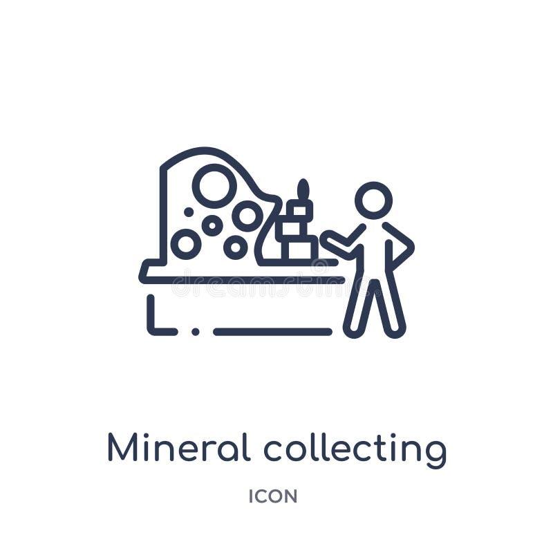 Icône de rassemblement minérale linéaire d'activité et de collection d'ensemble de passe-temps Ligne mince vecteur de rassembleme illustration de vecteur