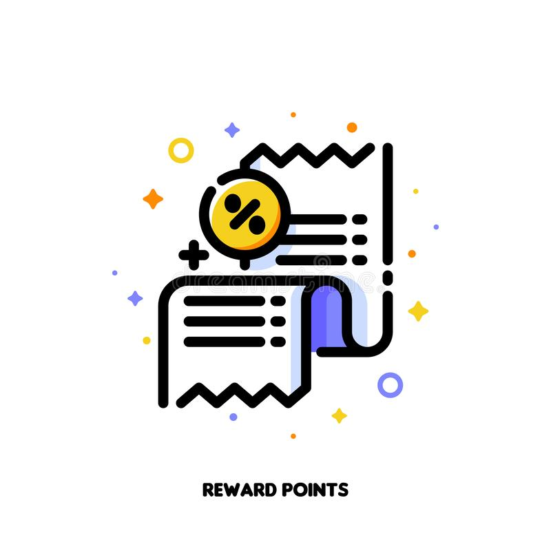 Icône de reçu avec le signe de pour cent qui symbolise des points de récompense ou le programme de fidélité de client au détail p illustration libre de droits