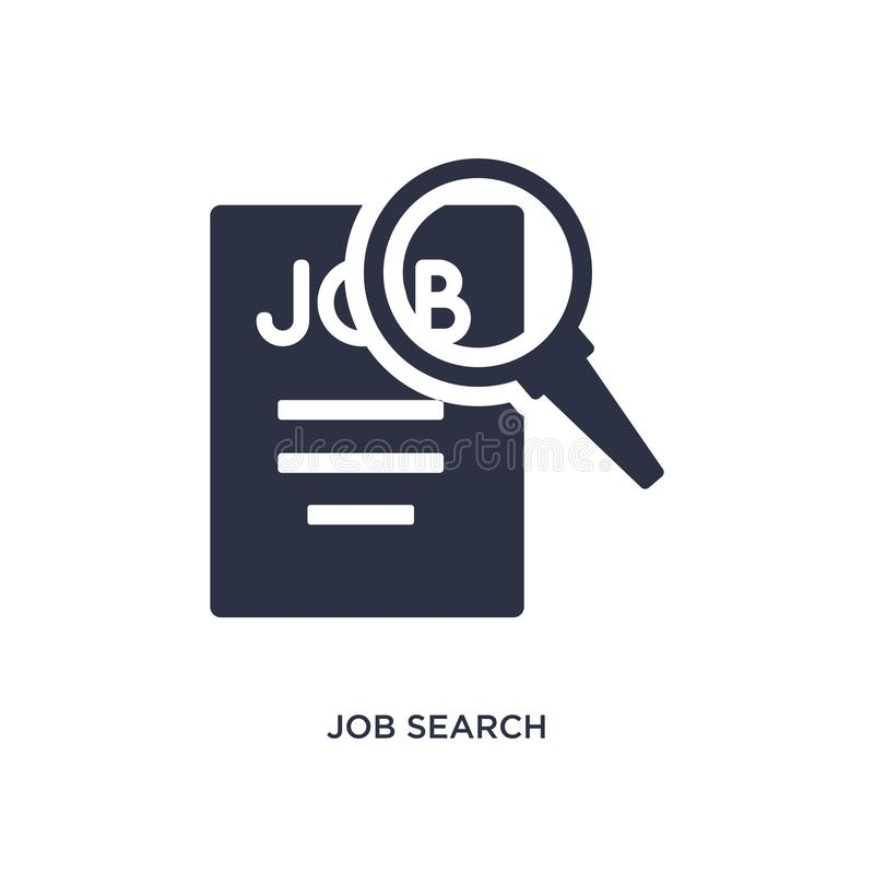 Icône de recherche d'emploi sur le fond blanc Illustration simple d'élément de concept de ressources humaines illustration libre de droits