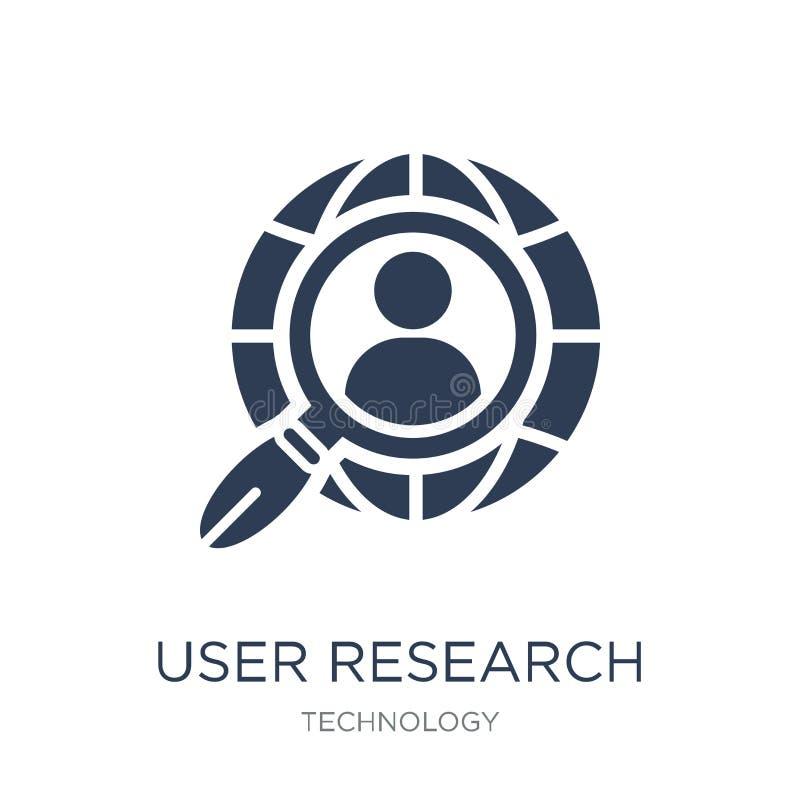 Icône de recherches d'utilisateur Icône plate à la mode de recherches d'utilisateur de vecteur sur le whi illustration de vecteur