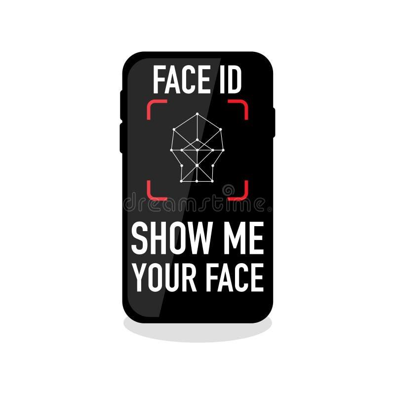 Icône de reconnaissance d'identification de visage sur le fond vide illustration stock