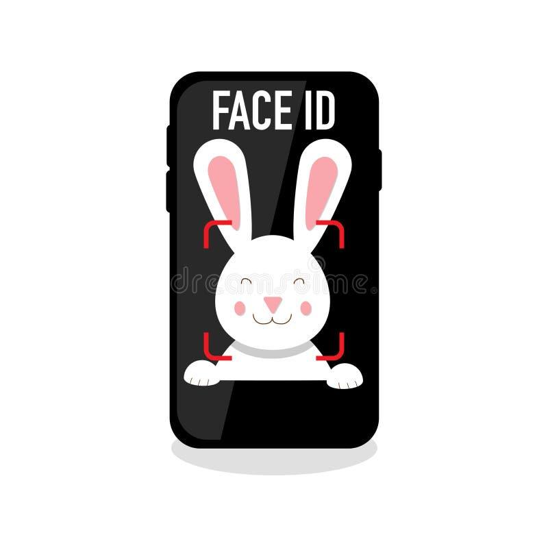 Icône de reconnaissance d'identification de visage sur le fond vide illustration de vecteur