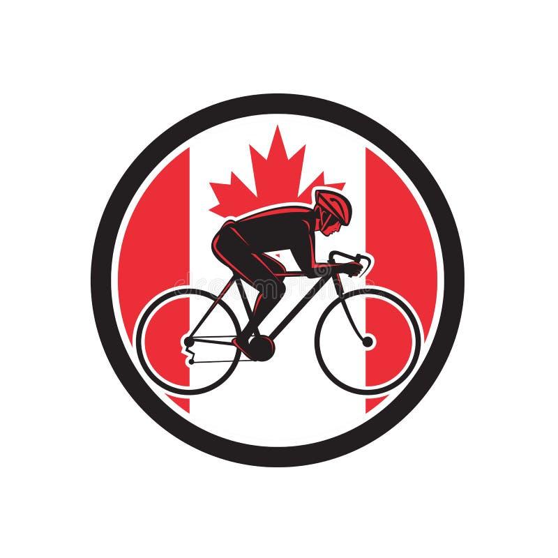 Icône de recyclage de drapeau de Canada de cycliste canadien illustration stock