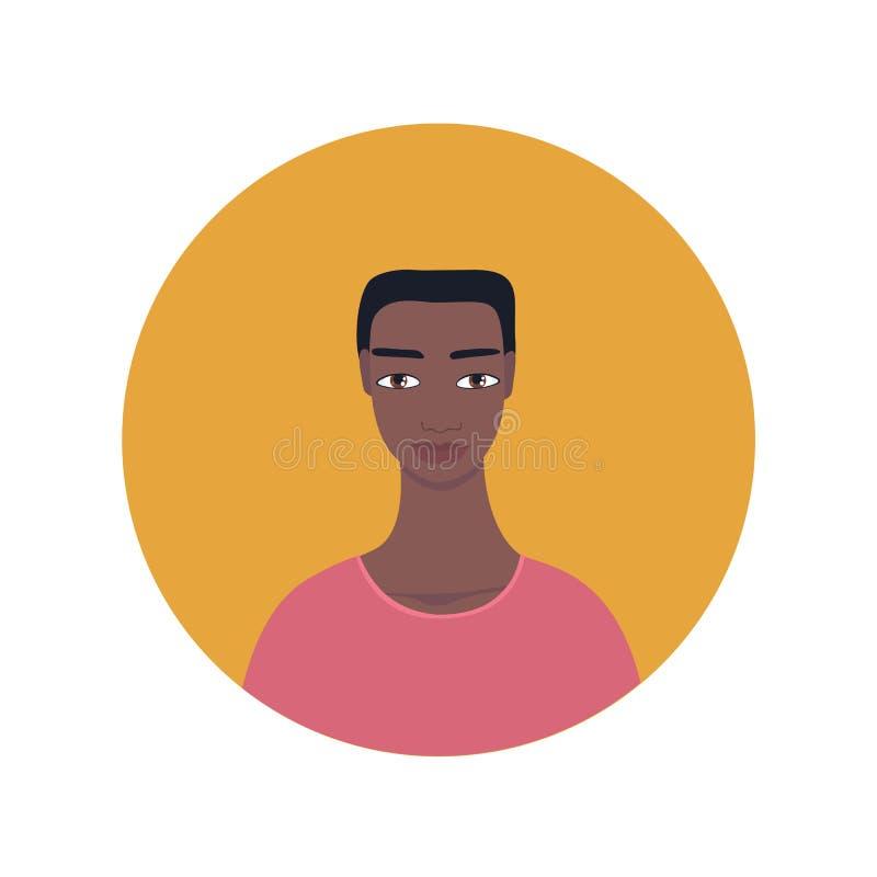 Icône de regard exotique mélangée d'homme de jeune Afro-américain bel illustration libre de droits