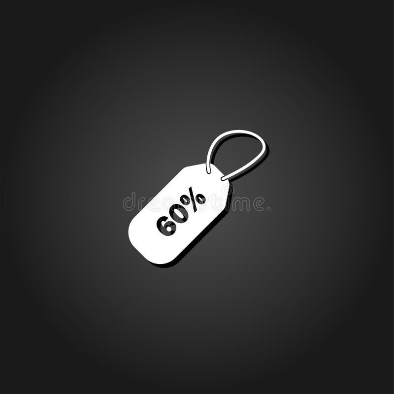 icône de remise de 60 pour cent à plat illustration stock
