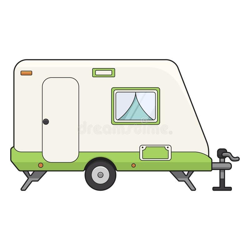 Icône de remorque de camp, transport pour le mode de vie de touristes illustration stock