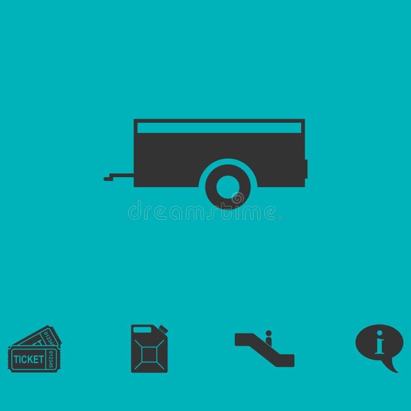 Icône de remorque de voiture à plat illustration libre de droits