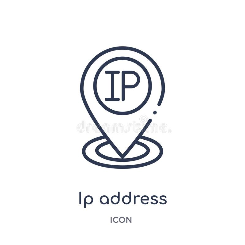 icône de repère de point d'IP address de collection d'ensemble de technologie Ligne mince icône de repère de point d'IP address d illustration libre de droits