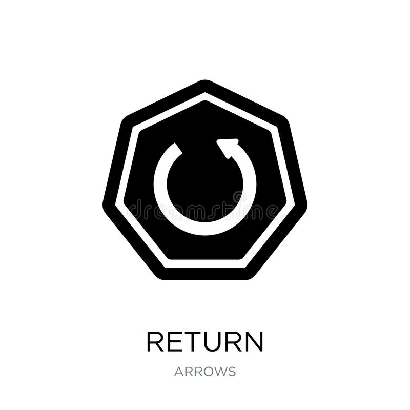 icône de retour dans le style à la mode de conception Icône de retour d'isolement sur le fond blanc symbole plat simple et modern illustration de vecteur
