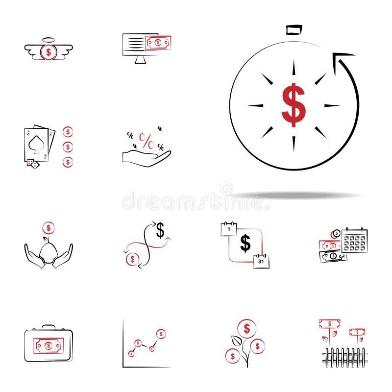 Icône de revenu immérité Financez l'ensemble universel d'icônes pour le Web et le mobile illustration libre de droits