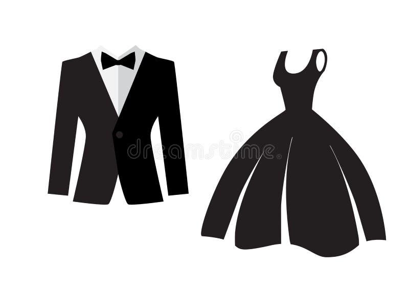 Icône de robe et de costume d'isolement illustration libre de droits