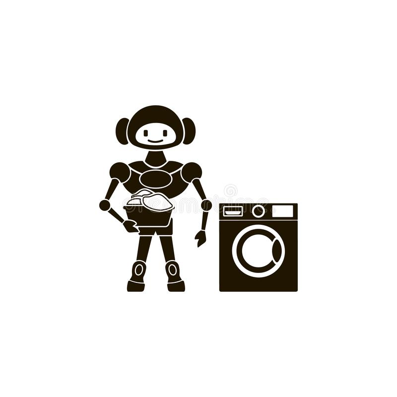icône de robot et de machine à laver Élément de l'icône à la maison de robot pour des applis mobiles de concept et de Web Robot e illustration stock