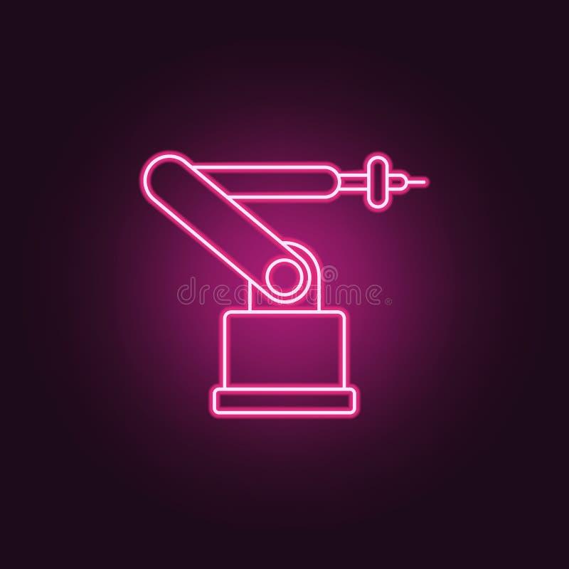 Icône de robot industriel Éléments de la fabrication dans les icônes au néon de style E illustration libre de droits