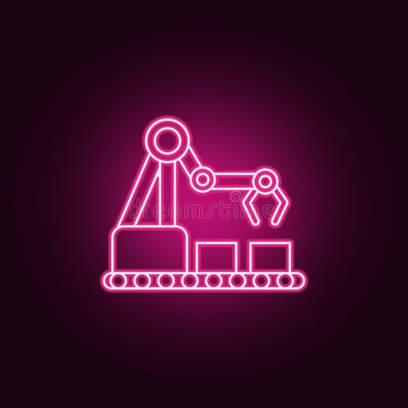 Icône de robot de production de robot industriel Éléments d'artificiel dans les icônes au néon de style Icône simple pour des sit illustration de vecteur