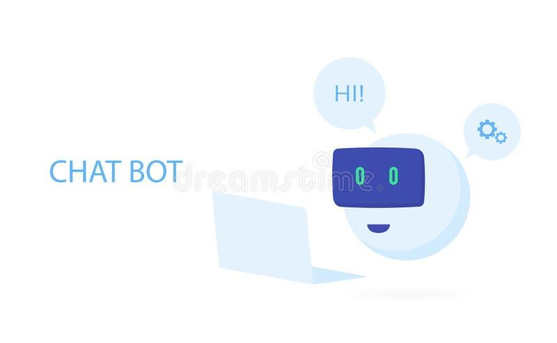 Icône de robot Signe de Bot de causerie pour le service de support Illustration plate moderne de vecteur de style illustration de vecteur