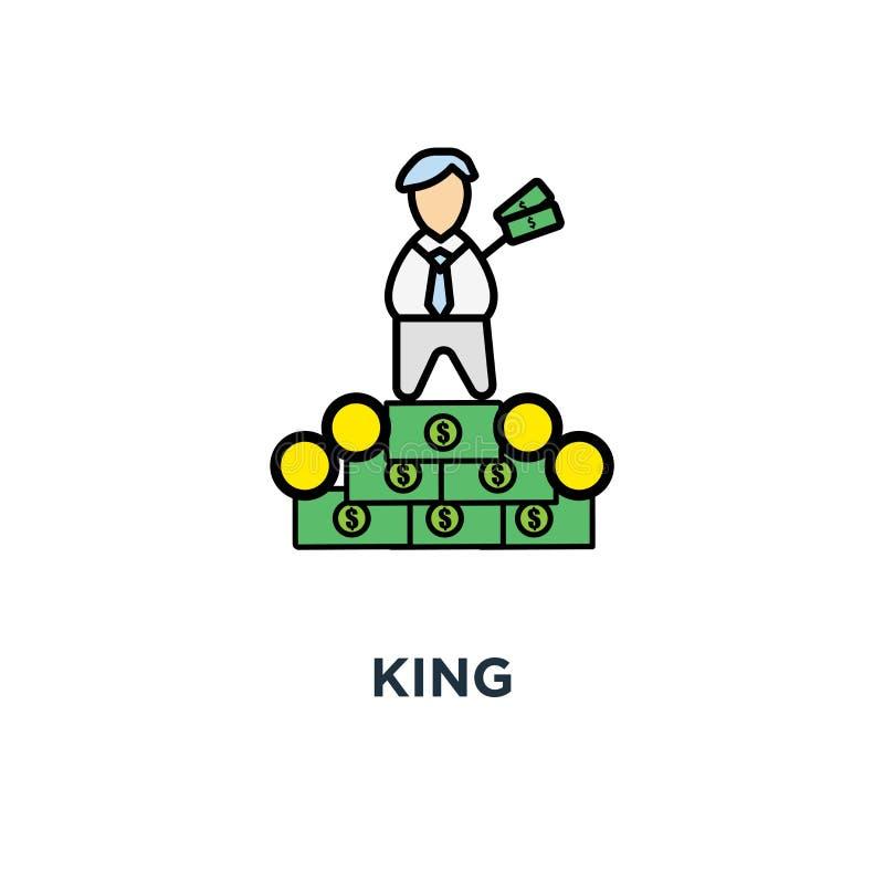 Icône de roi le patron riche, succès, personnage de dessin animé mignon d'amusement avec la couronne fantasme et se reposant sur  illustration de vecteur