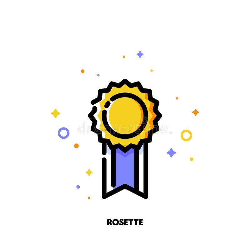 Icône de rosette d'or élégante pour le succès ou le concept de gagnant illustration stock