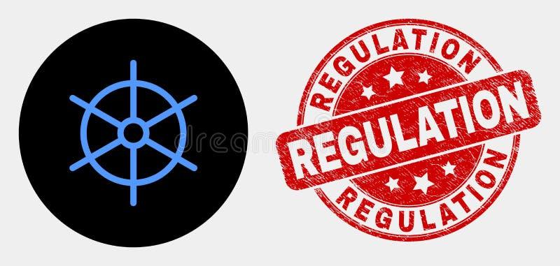 Icône de roue de règle de bateau de vecteur et joint réglementaire rayé de timbre illustration stock