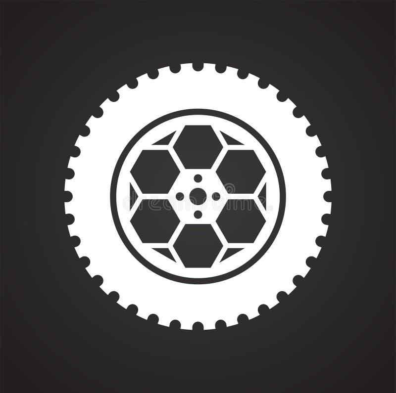 Icône de roue sur le fond noir pour le graphique et la conception web, signe simple moderne de vecteur Internet bleu de concept d illustration de vecteur