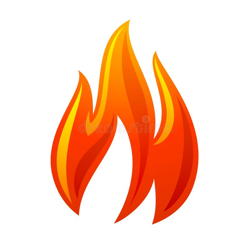 Icône de rouge de la flamme 3d du feu illustration stock