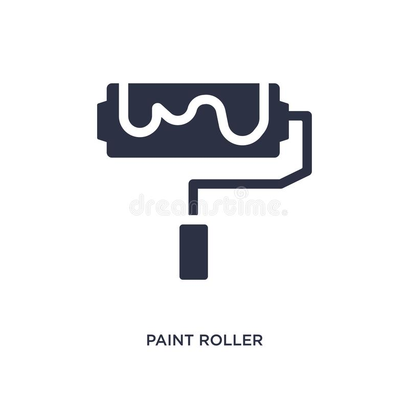 Icône de rouleau de peinture sur le fond blanc Illustration simple d'élément de concept d'outils de construction illustration de vecteur