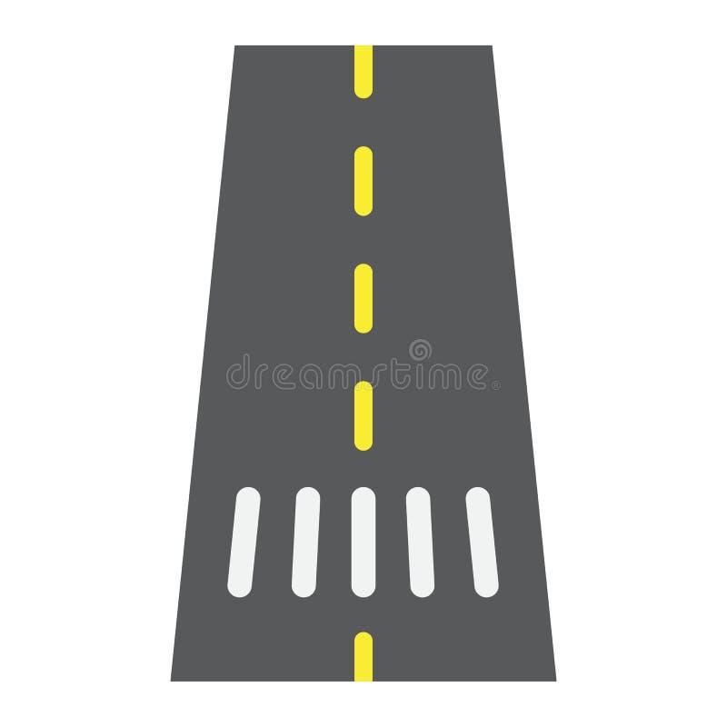 Icône de route, asphalte et trafic plats, signe de manière illustration de vecteur