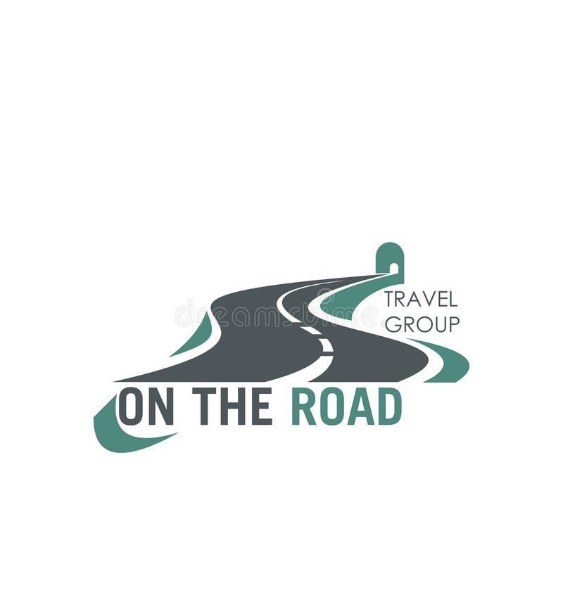 Icône de route de vecteur de tourisme de route de groupe de voyage illustration libre de droits