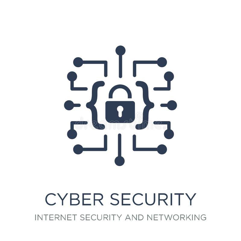 Icône de sécurité de Cyber Icône plate à la mode de sécurité de Cyber de vecteur sur W illustration de vecteur