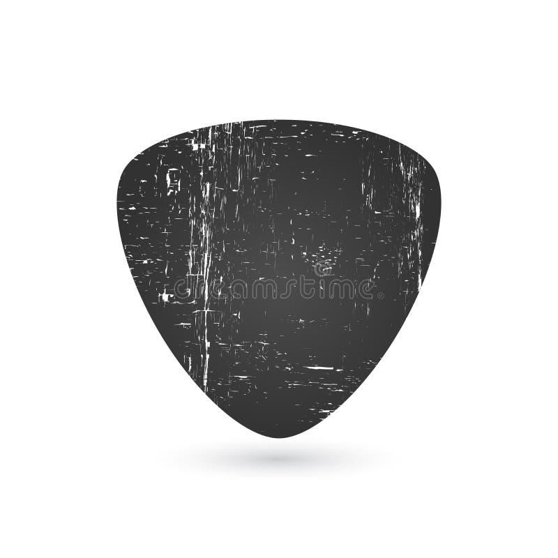 Icône de sélection de guitare dans l'effet grunge, illustration de vecteur d'isolement sur le fond blanc illustration de vecteur